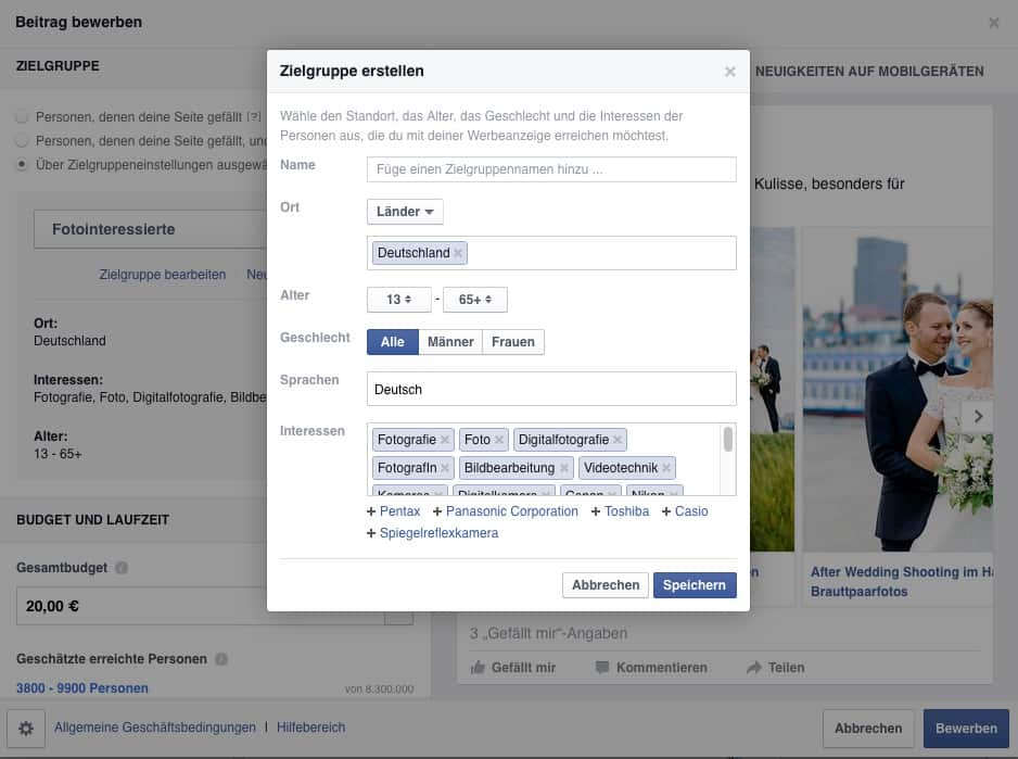 Facebook Werbeanzeigenmanager Zielgruppenauswahl