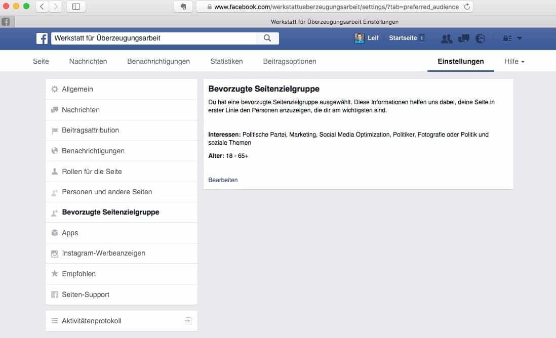 Facebook Bevorzugte Seitenzielgruppe
