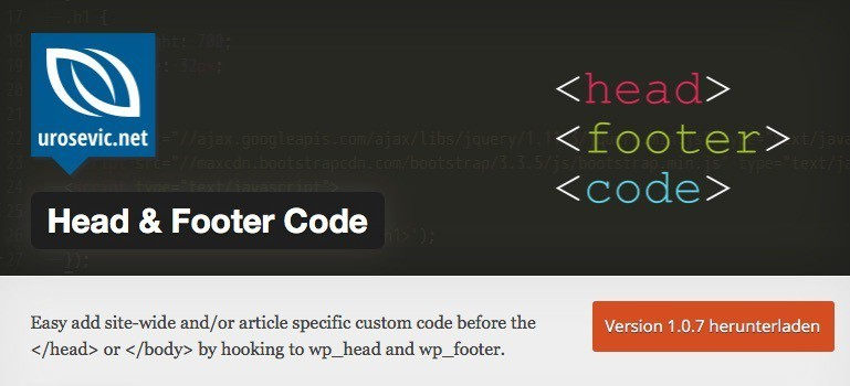 Head and Footer Code WordPress Plugin