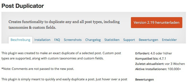 Post Duplicator WordPress Plugin