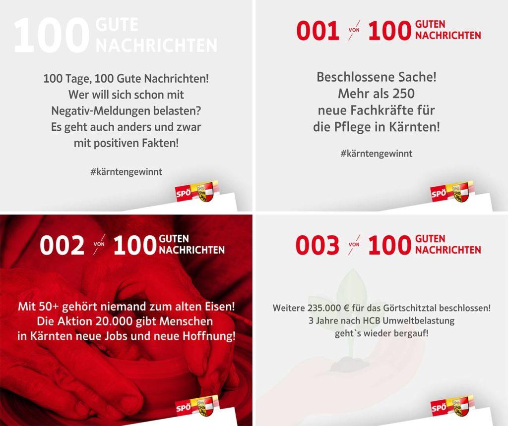 SPÖ Wahlkampf in Kärnten mit 100 guten Nachrichten