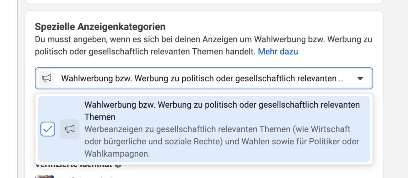 Wahlwerbung Politik Facebook