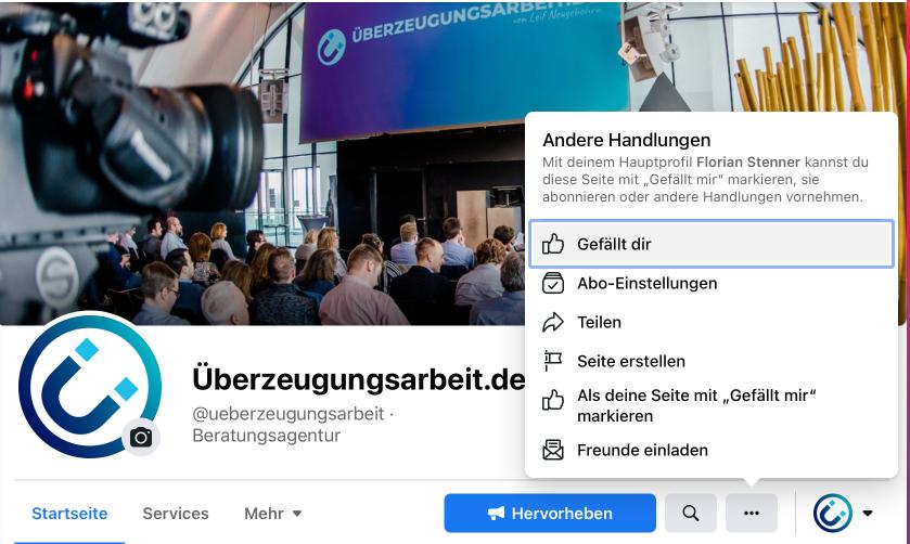"""Ansicht der Facebook-Seite von Überzeugungsarbeit.de - Darstellung der """"Freunde einladen"""" Handlung"""