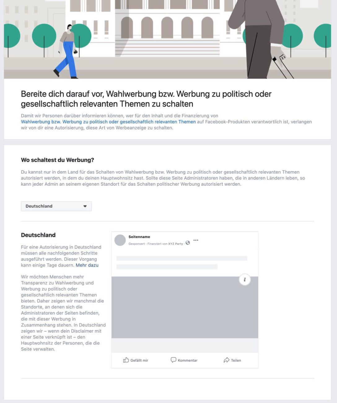 Anleitung Facebook für politische Werbung verifizieren